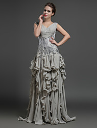 Formal Evening Dress Sheath/Column V-neck Floor-length Chiffon
