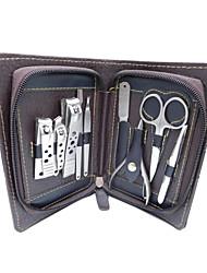 manicure pedicure set aço inoxidável cortador de unhas cutícula 9 em 1 caso aliciamento kit