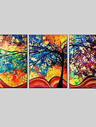 Ручная роспись Абстракция Горизонтальная Панорамный,Modern Европейский стиль 3 панели Hang-роспись маслом For Украшение дома
