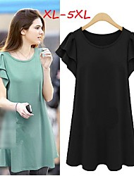 Women's Solid Plus Size Dresses , Casual/Cute Round Short Sleeve