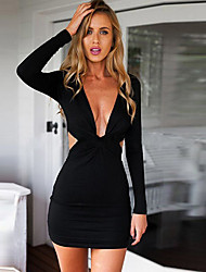 CEN     Women's Solid Color Black Dresses , Sexy / Bodycon / Casual / Party V-Neck Long Sleeve
