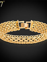 U7® Unisex Simple Style 18K Real Gold Plated Fashion Jewelry New Trendy Unique 8'' Chunky Link Chain Bracelet