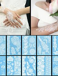 10PCS Fashion Waterproof Body Art Women White Henna Jewel Sexy Lace Flower Temporary Tattoo Stickers
