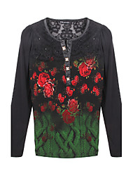 Women's Print / Patchwork Blue / Red / Green Blouse , Round Neck Long Sleeve