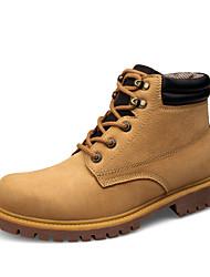 Sapatos Masculinos Botas Amarelo / Khaki Couro Casual