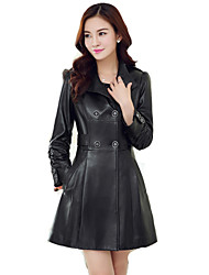 Women's Casual Big Size PU Leather Jacket