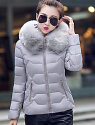 Women's Solid White / Black / Gray Parka Coat