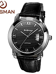 EASMAn Watches Men Black Genuine Leather Quartz Watch Man Business Japan Movement Wrist Watches