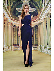 Formal Evening Dress - Dark Navy Sheath/Column Bateau Floor-length Knit