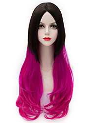 Two Tone Black Gradient Red Long Loose Wavy U Part Hair Harajuku Purecas Lolita Vogue Party Women Girl Synthetic Wig