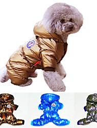 Perros / Gatos Abrigos / Saco y Capucha Azul / Morado / Dorado Invierno Deporte Cosplay
