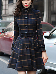 Women's Fashion Slim Sand Collar Beam Waist Long Sleeved Woolen Coat(With Belt)