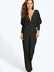 CEN     Women's Solid Color Black Jumpsuit , Casual V-Neck Long Sleeve