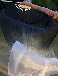 Hot Selling Color Belly Dance 100% Real Silk Fan Veils Natural Silk Fabric Black/White 2pcs/L+R