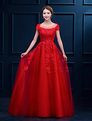 Formal Evening Dress A-line Scoop Floor-length Lace with Appliques / Lace