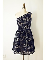 Knee-length Lace  Bridesmaid Dress - Black Sheath/Column One Shoulder