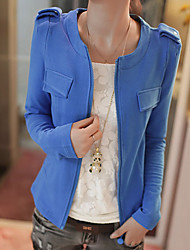 Women's Solid Blue / Pink / Yellow Jackets , Casual / Cute / Work Round Neck Long Sleeve