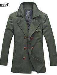 Lesmart Men's Long Sleeve Fashion Bussiness Woolen Warm Windproof Outerwear Coat