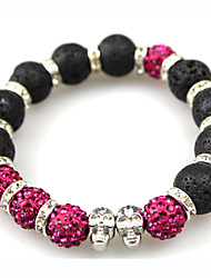 Women Men Fashion Bracelet Pulseras Mujer Black Lava Stone Skull Beads Bracelet