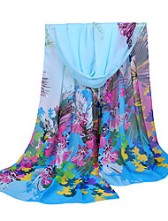 Women Chiffon Scarf Contrast Leaves Print Long Shawl Colorful Fashion Pashmina