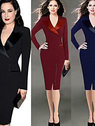 VICONE Women's Bodycon Dresses Pencil Dresses , Vintage / Sexy / Beach / Casual / Cute / Party Round Long Sleeve