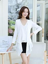 Women's Solid White Blazer , Work V Neck Short Sleeve