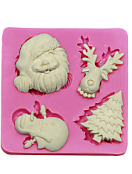 Fondant Cake Decorating Tools Christmas Tree Santa Claus Reindeer Snowman Silicone Mold For Cupcake Candy Chocolate