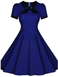 Women's Bow Round Collar Solid Plus Size High Waist Big Swing Short Puff Sleeve Dress