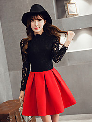 Women's Lace Red / Black Dress , Casual Round Neck Long Sleeve
