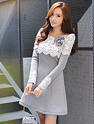 DABUWAWA Women's Patchwork Casual Lace Fashion 3D Flower Round Long Sleeve Dresses
