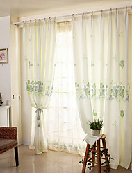 (Two Panels)Country  Floral Print Polyester Eco-friendly Curtain(Sheer Not Included)