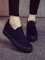 Women's Shoes Canvas Platform Platform / Creepers / Round Toe Loafers / Slip-on Outdoor / Casual Black / Blue / Burgundy
