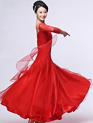 Danse de Salon Robes et Jupes Femme Spectacle Crêpe Dentelle Fibre de Lait Dentelle Ruché 1 Pièce Manche longue Robe