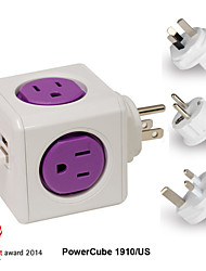 Besteye® Allocacoc PowerCube 1910/US Travel Power Outlet with 4 types plug and Dual USB Port 4 Outlets Resettable Fuse