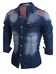 High Quality Men's casual long-sleeved shirt Slim denim shirt lapel Polyester Casual / Sport
