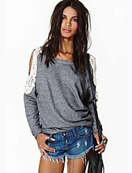 Tee-shirt Aux femmes,Mosaïque Décontracté / Quotidien simple Automne Manches Longues Col Arrondi Gris Coton Fin