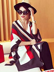 YUYI Women's Striped Multi-color Coats & Jackets , Casual V-Neck ¾ Sleeve