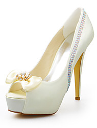 Women's Summer Stretch Satin Wedding Dress Party & Evening Stiletto Heel Crystal Ivory
