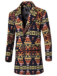 Men's Long Sleeve Long Coat , Polyester Print