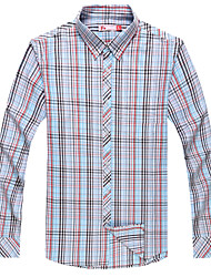 Men's Cotton Casual Long Sleeve Checked Shirts