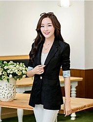 Women's Solid Red / Black / Yellow Blazer , Sexy / Bodycon / Work Shirt Collar Long Sleeve