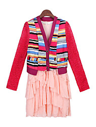 Women's Striped / Lace Blue / Pink Suits , Casual V-Neck Long Sleeve