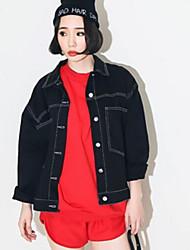 Women's Solid Blue / Black Denim Jacket , Casual