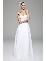 A-line Wedding Dress - White Floor-length Sweetheart Lace
