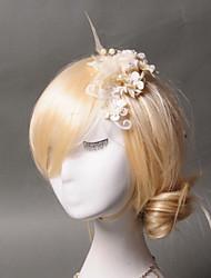 Mulheres Penas Tule Imitação de Pérola Capacete-Casamento Ocasião Especial Casual Clip para o Cabelo 1 Peça