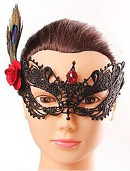 Halloween Fashion Sexy Flower Feather Black Lace   Eye Wear
