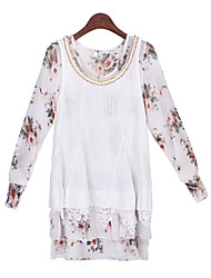 Women's Print / Lace White Suits , Casual Round Long Sleeve