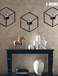 E-Home® Metallwand Kunst-Wanddekor, schwarzes Quadrat Leuchter Wanddekor PC einer