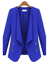Women's Solid Blue / Black Blazer,Vintage Asymmetrical Long Sleeve