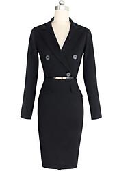 Monta Women's Vintage/Sexy/Casual/Party 1950S V-Neck Pencil Winter Dresses (Cotton Blend)